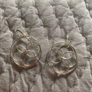 Silver colored multi circle hoop earrings